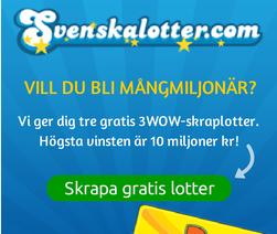 3 gratis skraplotter hos svenskalotter