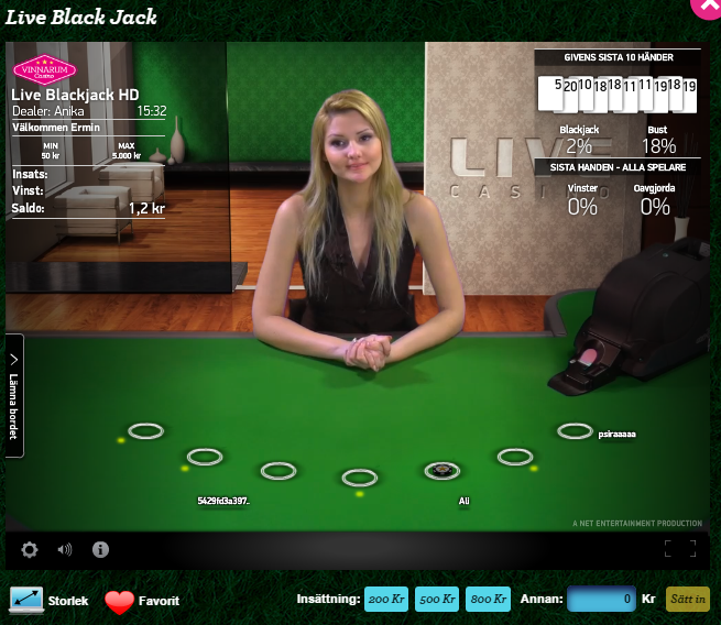 live blackjack hos Vinnarum
