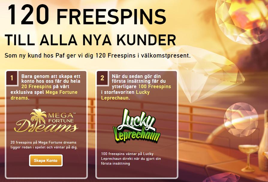 120 freespins hos Paf