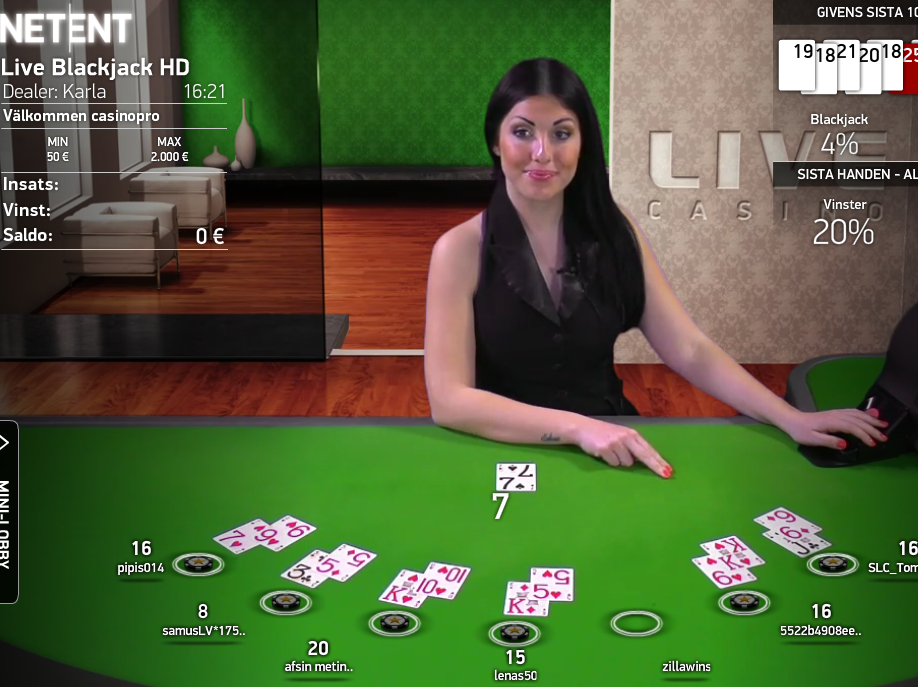 blackjack live hos casinosaga