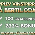 Bertil casino erbjuder nu 100 freespins utan krav plus 233% i bonus!