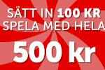 500% i casino bonus - Satsa 100kr och få 500kr att spela med