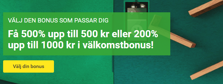 500% i bonus hos Unibet
