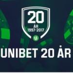 Unibet firar 20 år, bjuder på 20 free spins och delar ut 200.000SEK