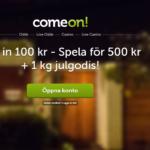 Alla nya kunder hos ComeOn får just nu 400% i bonus + 1kg godis hemskickat